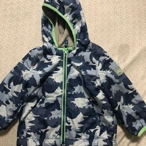 GAP Dinosaur Camo jacket with hoodie 12-18 months